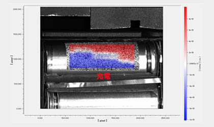 【測定事例紹介】~デジタル画像相関法によるバッテリー充電時の膨張のせん断歪み分布~